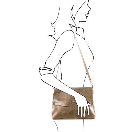 TL Bag Aged effect leather handbag Dark Taupe TL141637