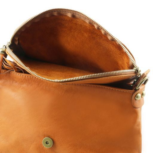 TL Bag Soft leather shoulder bag with tassel detail Bordeaux TL141223