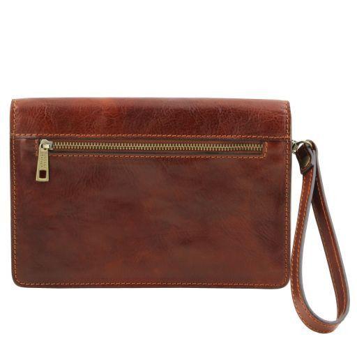 Tommy Elegante bolsillo de señor en piel Marrón oscuro TL141442
