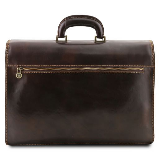 Napoli Leather briefcase 2 compartments Brown TL10027