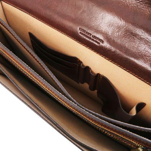 Volterra Leather briefcase 2 compartments Black TL141544