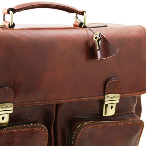 Ventimiglia Leather multi compartment TL SMART briefcase with front pockets Коричневый TL141449