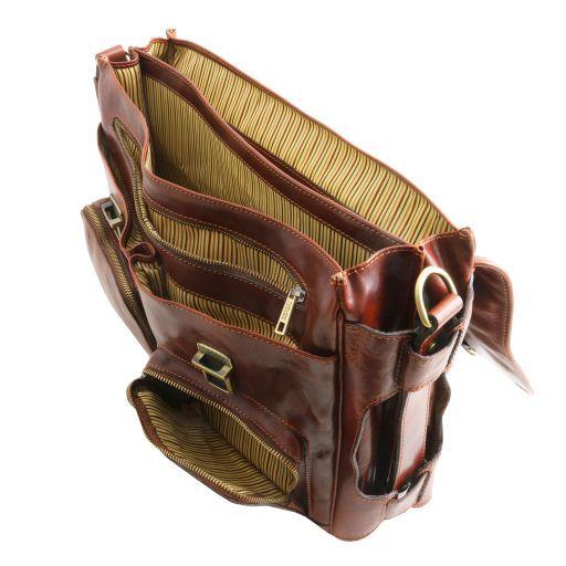 Ventimiglia Leather multi compartment TL SMART briefcase with front pockets Brown TL141449