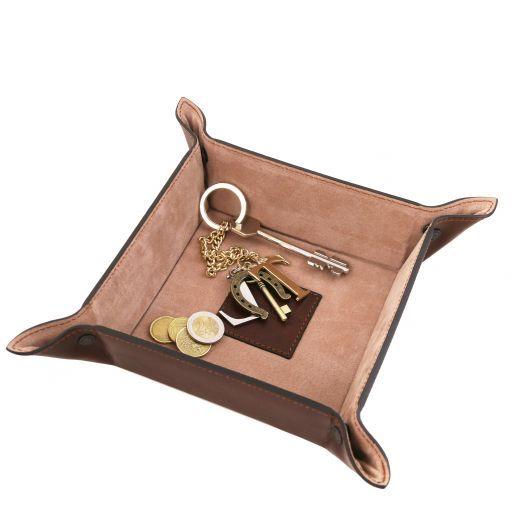 Эксклюзивный кожаный лоток для мелочей большая модель Коричневый TL141271