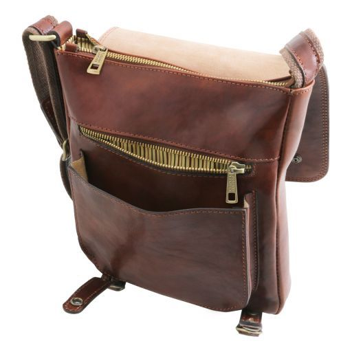 Roby Leather crossbody bag for men with front straps Honey TL141406