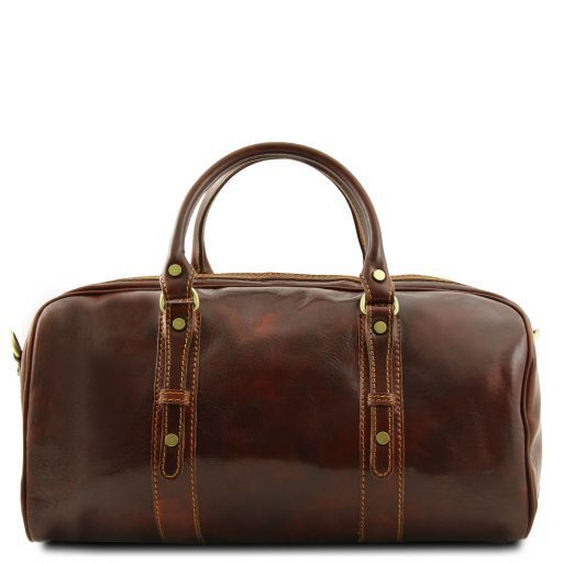 Francoforte Exclusive Leather Weekender Travel Bag - Small size Dark Brown TL140935