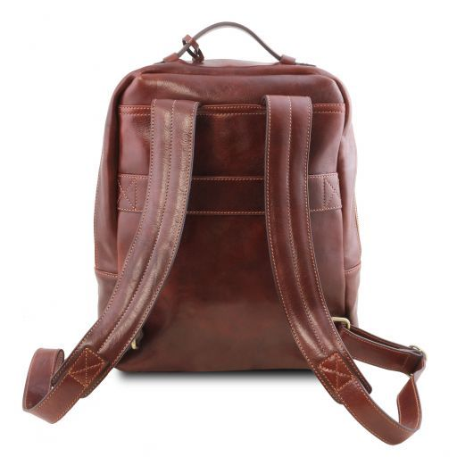 Kyoto Leather laptop backpack Brown TL141859