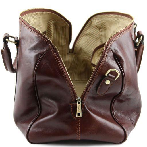 TL Voyager Дорожная кожаная сумка-даффл с карманом сзади - Малый размер Коричневый TL141250