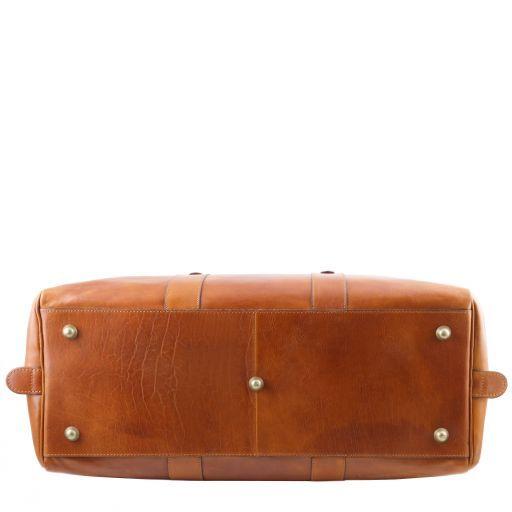 TL Voyager Reisetasche aus Leder mit Vorderfach Braun TL141401