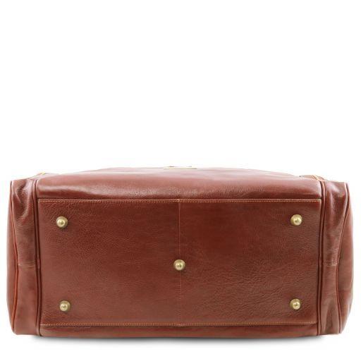 TL Voyager Reisetasche aus Leder mit 2 Reissverschluss-Seitentaschen - Gross Braun TL141281