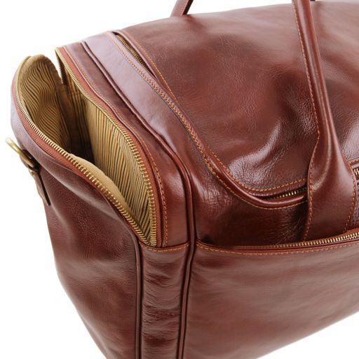 TL Voyager Sac de voyage en cuir avec poches aux côtés - Grand modèle Marron TL141281
