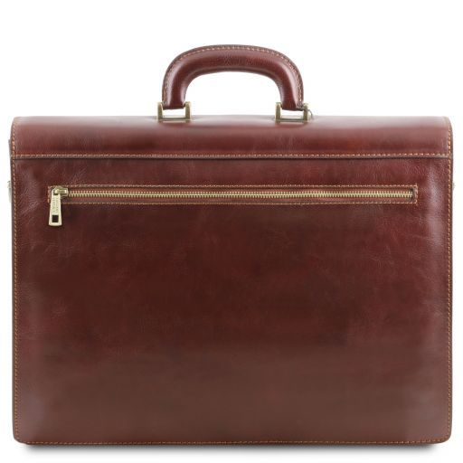 Roma Leather briefcase 3 compartments Black TL141349