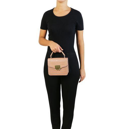 TL Bag Mini-Tasche mit Kroko-Prägung Tannengrün TL141890
