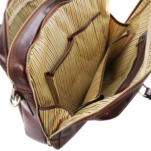 Urbino Cartella in pelle porta computer a 2 scomparti con tasca frontale Testa di Moro TL141894