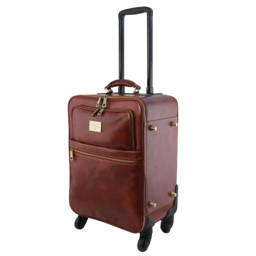 TL Voyager 4 Wheels vertical leather trolley Brown TL141911