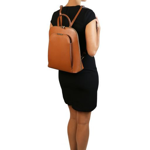 TL Bag Saffiano leather backpack for women Caramel TL141631