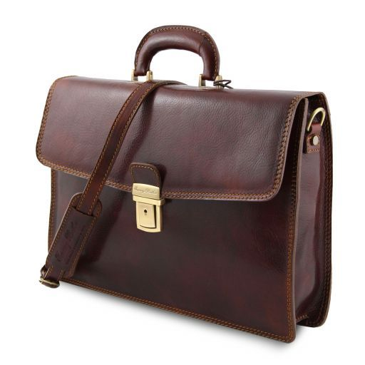 Amalfi Leather briefcase 1 compartment Black TL10050