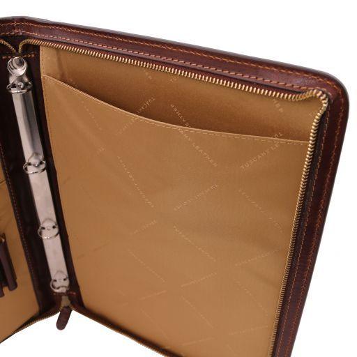 Lucio Exclusif porte-document en cuir avec anneaux Miel TL141293