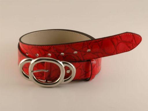 Esclusiva cintura in pelle Rosso TL140578