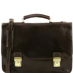 Firenze Leather briefcase 2 compartments Dark Brown TL10028