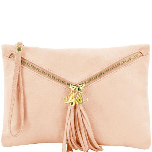 Audrey Leather clutch Nude TL140988