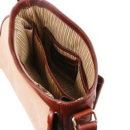 TL Messenger Bolso en piel con bandolera 1 compartimento - Tamaño medio Marrón TL141301