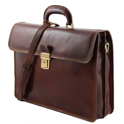 Parma Leather briefcase 2 compartments Honey TL10018