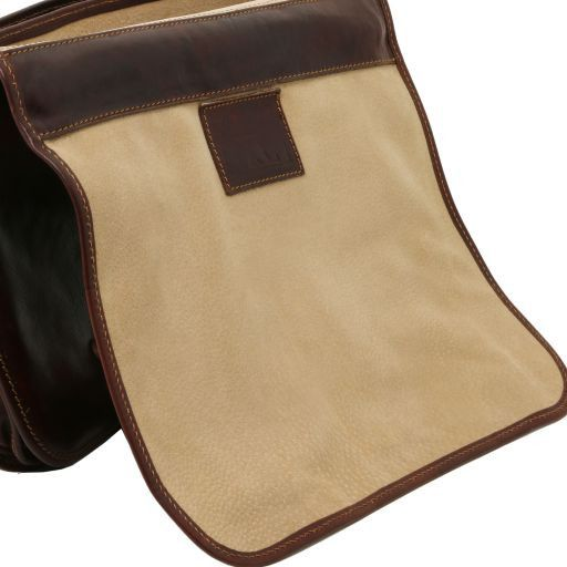 Capri Leather messenger bag 2 compartments Brown TL10068