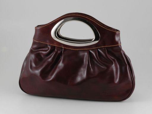 Nicole Stylische Handtasche aus Kalbsleder Dunkelbraun TL140690