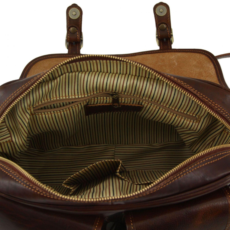 Tuscany Leather San Marino Sac de voyage en cuir avec poches frontales Noir lQw2ppIODC