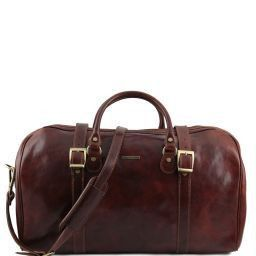 Berlin Travel leather duffle bag with front straps - Large size Brown TL1013