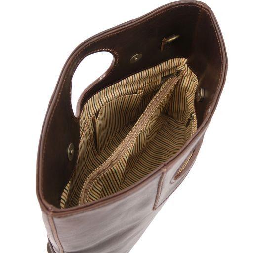 Mary Borsa in pelle con manico rotondo Marrone TL140495