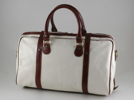 Berlin Travel leather bag -Yachting line - Small size White TL140679