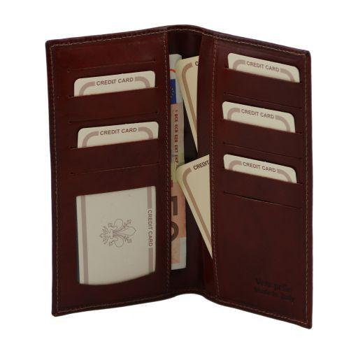 Esclusivo portafoglio verticale in pelle 2 ante Marrone TL140784
