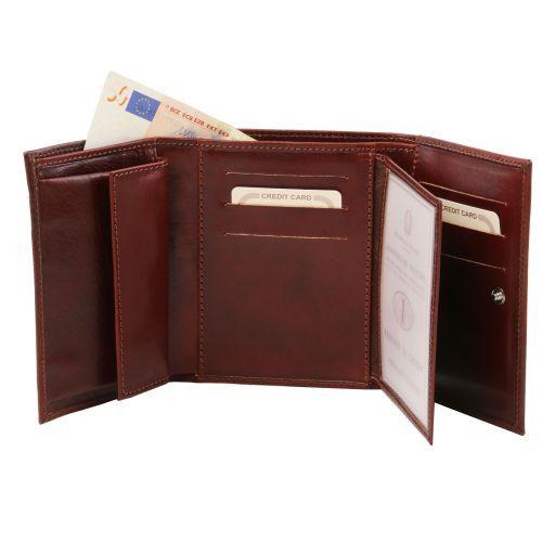 Esclusivo portafogli in pelle da donna 4 ante Rosso TL140790