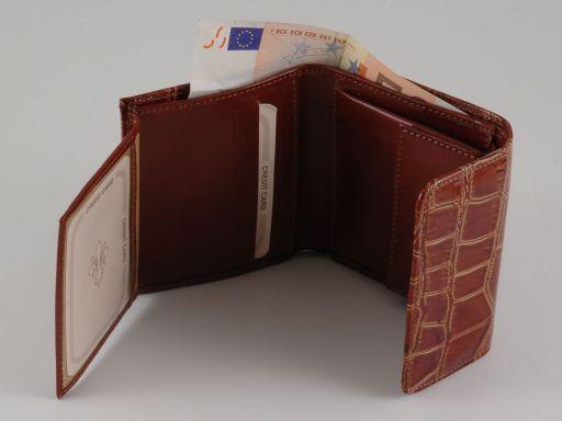 Esclusivo portafogli in pelle stampa cocco da donna Nero TL140793