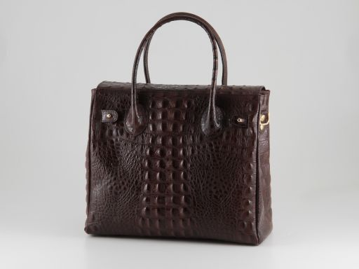 Erika Lady bag in croco look leather - Small size Коньяк TL140846