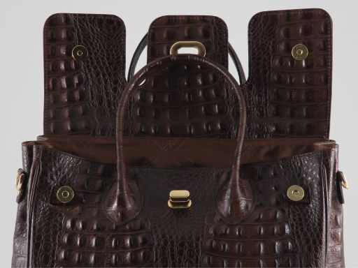 Erika Lady bag in croco look leather - Large size Черный TL140847