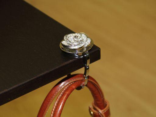 Portaborse da tavolo strass Fiore Neutro TL140873