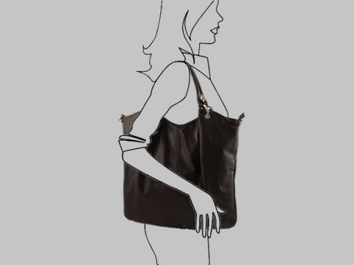 Nina Borsa Shopper in pelle nappata Nero TL140893