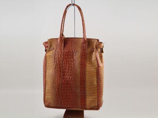 Eva Borsa a spalla in pelle stampa cocco - Misura grande Nero TL140922