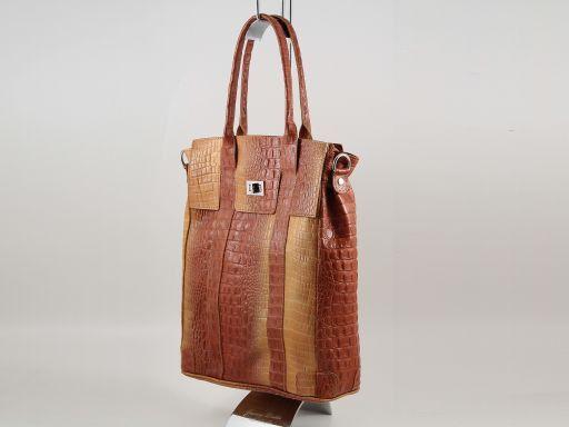Eva Sac à épaule en cuir imprimé - Grand modèle Cognac TL140922