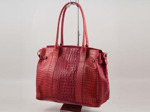 Eva Borsa a spalla in pelle stampa cocco - Misura media Cognac TL140923