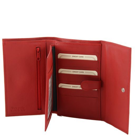 Esclusivo portafogli in pelle da donna nappata Rosso TL140937