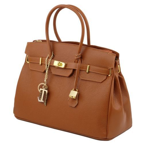 TL KeyLuck Leather handbag with golden hardware Red TL141092