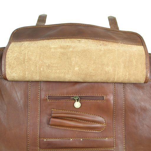 TL Travel Borsa da viaggio in pelle con pattella frontale Marrone TL151103