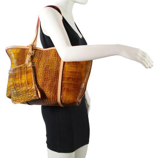 TL Bag Shopper stampa cocco con pendente oro Marrone TL141107