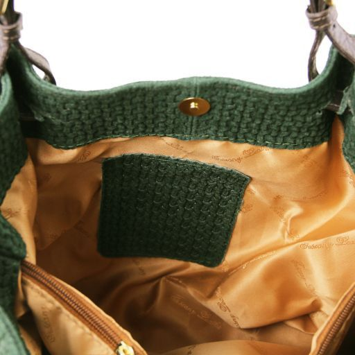 TL KeyLuck Borsa shopping in pelle stampa intrecciata - Misura Grande Verde TL141150