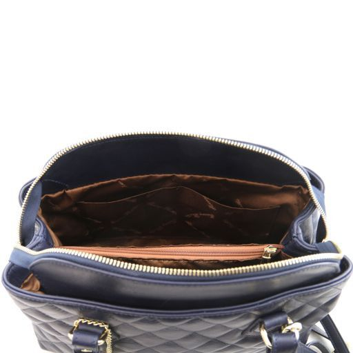 TL KeyLuck Soft quilted leather duffle bag Blue TL141222
