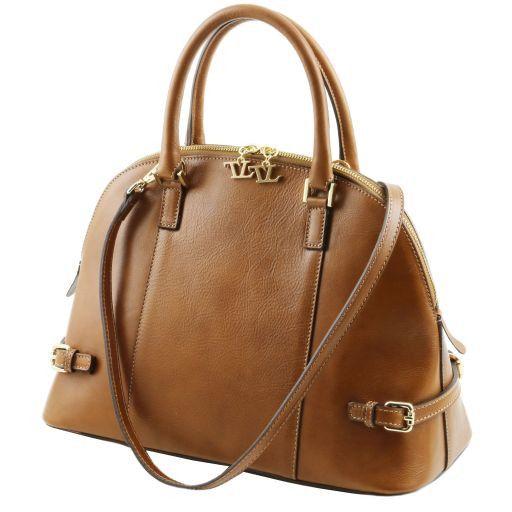 TL Bag Handtasche aus Leder mit Schnallen Dunkel Taupe TL141235